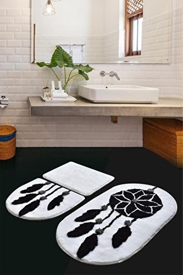 Chilai Home Rüya 3'lü Set Klozet Takımı Banyo Paspası Siyah Siyah